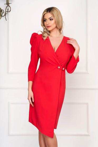 Coral dress elegant midi asymmetrical pencil cloth high shoulders