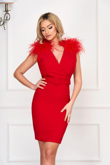 Red dress occasional short cut pencil accessorized with belt feather details cloth