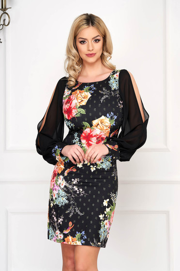 Black dress elegant short cut pencil with veil sleeves with floral print