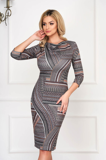 Dress StarShinerS brown office midi knitted pencil with graphic details cowl neck