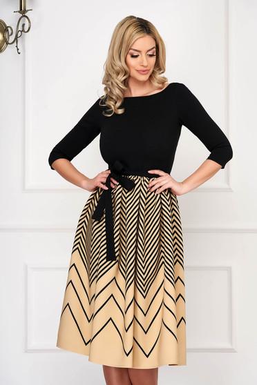 Dress StarShinerS cream elegant midi cloche with 3/4 sleeves