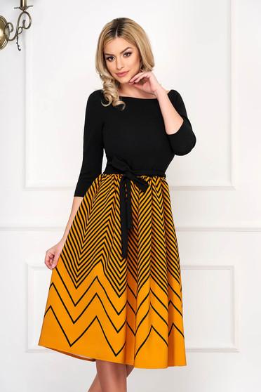 Dress StarShinerS mustard elegant midi cloche with 3/4 sleeves