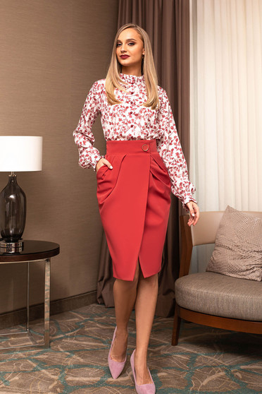 Coral skirt office midi with pockets wrap over skirt cloth pencil