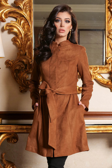 Brown trenchcoat elegant from velour straight with pockets