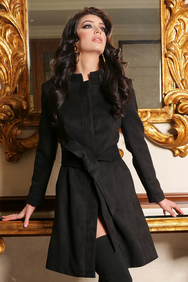 Black trenchcoat elegant from velour straight with pockets